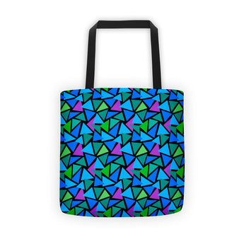Tote Bag - Triangles, Turquoise Multi-colored