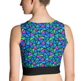 Crop Top - Triangles, Turquoise, Multi-colored
