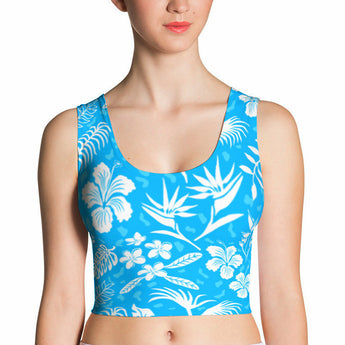 Crop Top - Hawaiian Tropical Flowers, Island Blue
