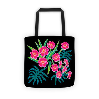 Tote Bag - Pink Orchids on Black