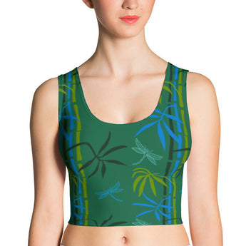 Crop Top - Dragonflies in Bamboo Forest