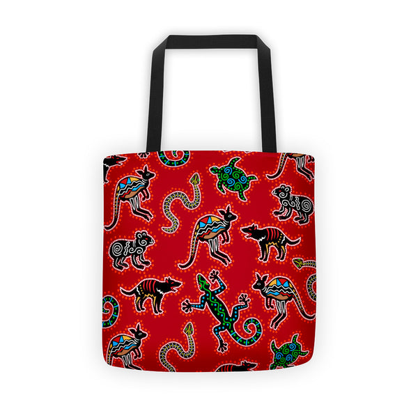 Tote bag - Australian Animals, Red