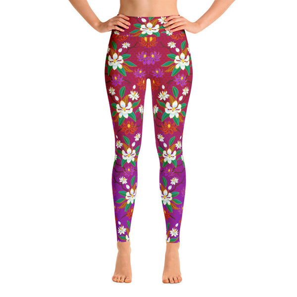 Yoga Pants - Magnolias, Red/Purple