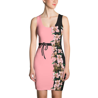 Bodycon Dress - Peach Orchid Flowers