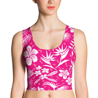 Crop Top - Hawaiian Tropical Flowers, Pink