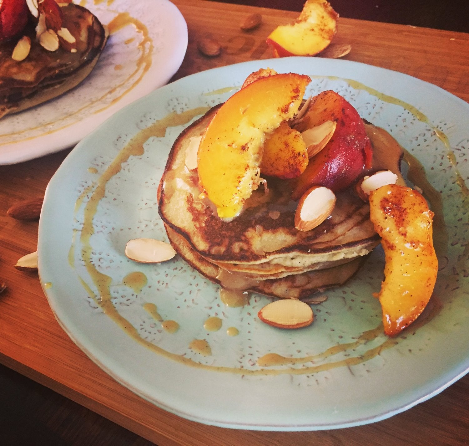 Almond and Banana Pancakes with Grilled Peaches, Maple Tahini and Vanilla Bean Sauce