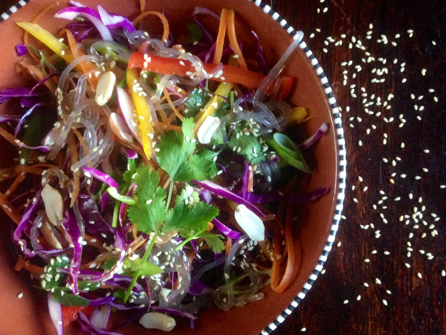 Almost Raw Super Salad with Roasted Sesame Dressing