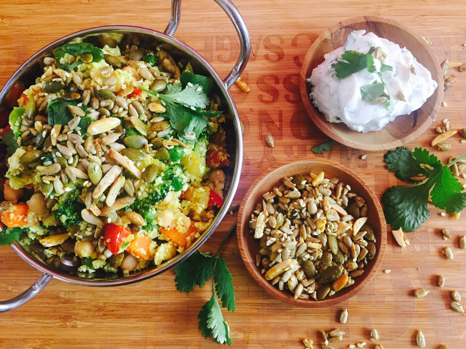 Chickpea and Veggie Biryani on Cauliflower Rice with Herbed Yogurt and Spiced Seeds