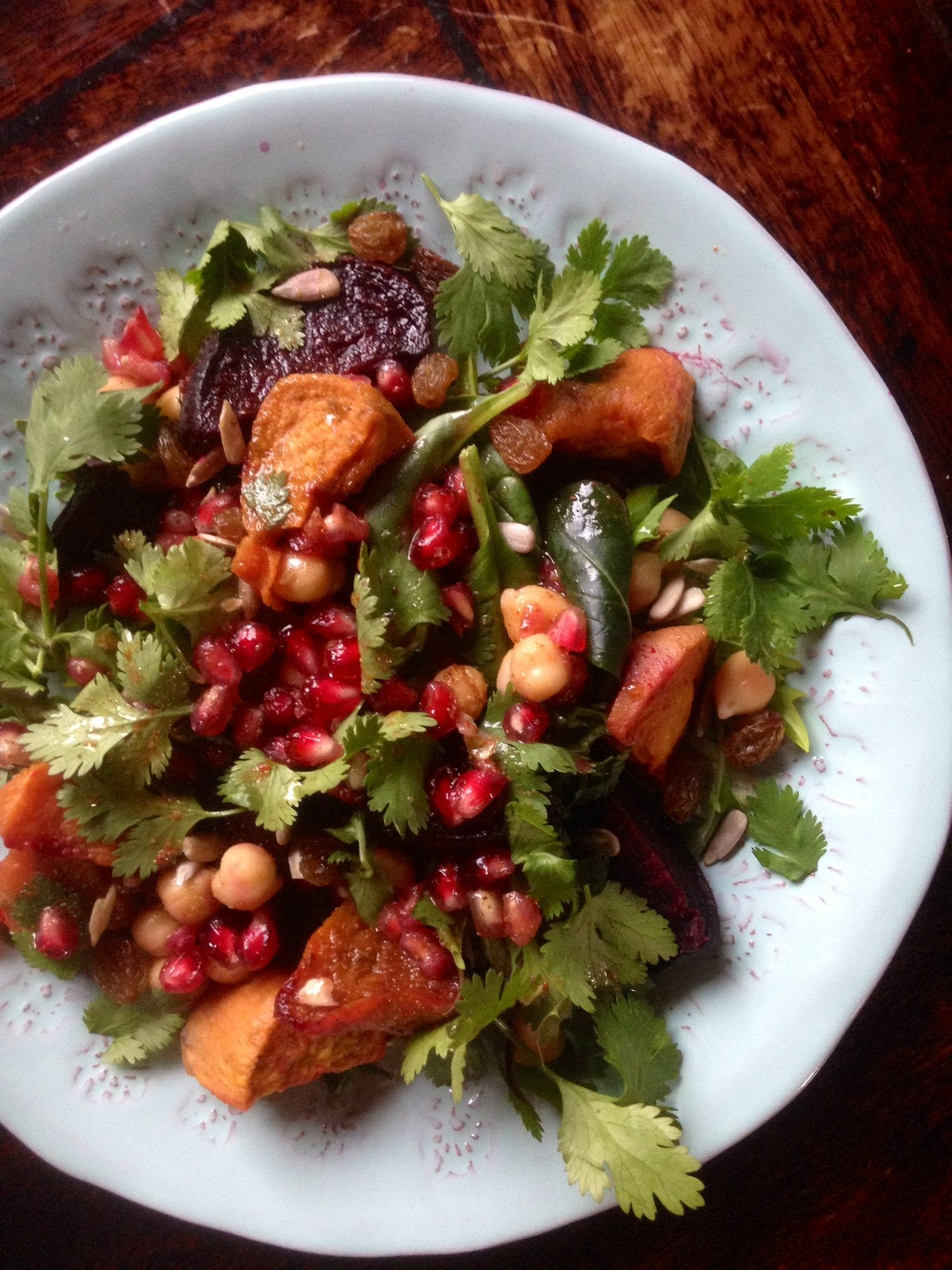 Moroccan Chickpea, Baked Beetroot and Sweet Potato Salad, with a Pomegranate and Orange Dressing