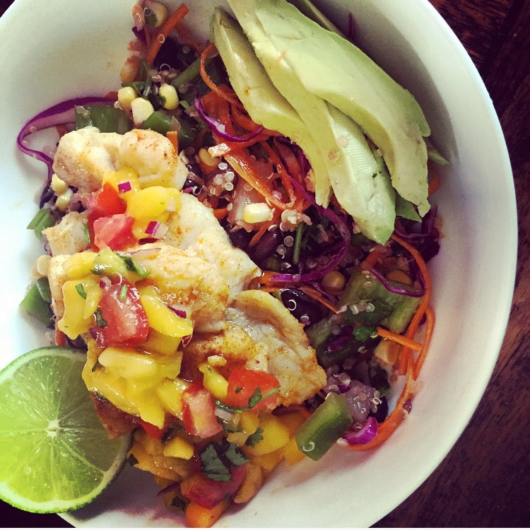 Spicy Fish Taco Salad Bowl, with a Lime and Mango Salsa