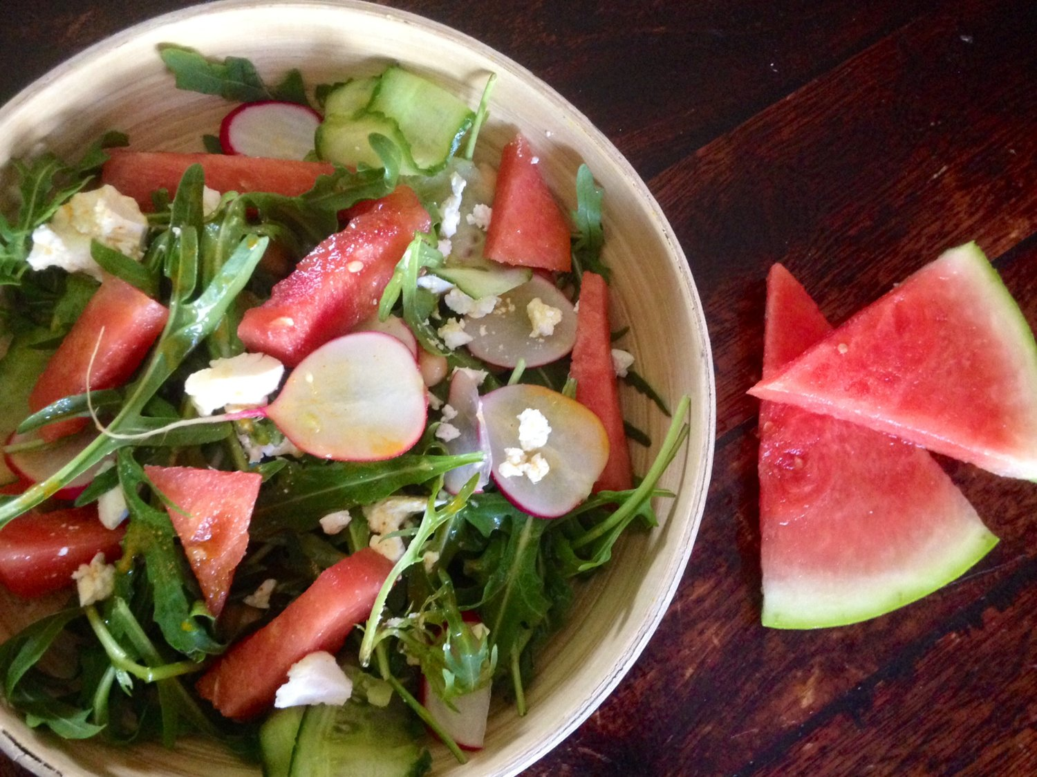 Watermelon Lovin Salad, with a Fresh Turmeric and Orange Dressing