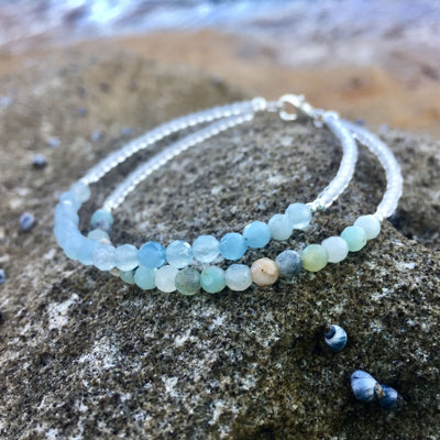 Amazonite & Aquamarine Bracelet Hand beaded by House of Aloha Central Coast NSW Australia