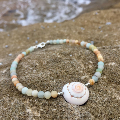 Amazonite, sunstone and shell anklet