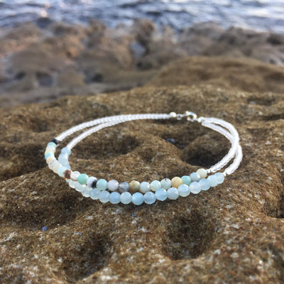 Aquamarine & Amazonite Bracelet Hand Beaded by House of Aloha Central Coast NSW Australia