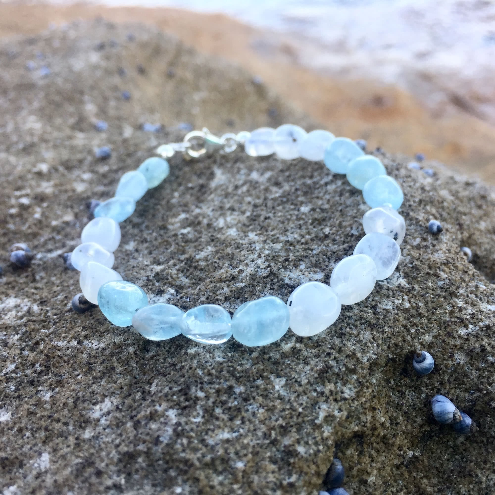 Aquamarine & Moonstone Bracelet Hand Beaded by House of Aloha Central Coast NSW Australia