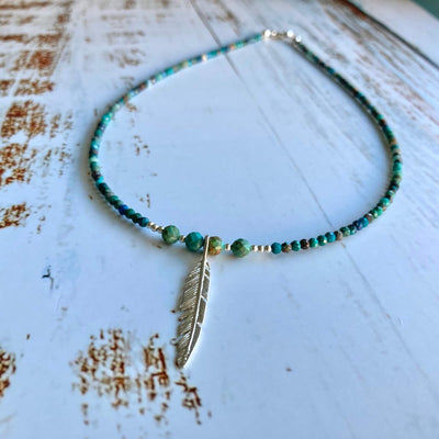 Azurite & Turquoise Feather Necklace
