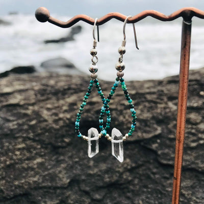 Azurtie & Clear quartz crystal earrings