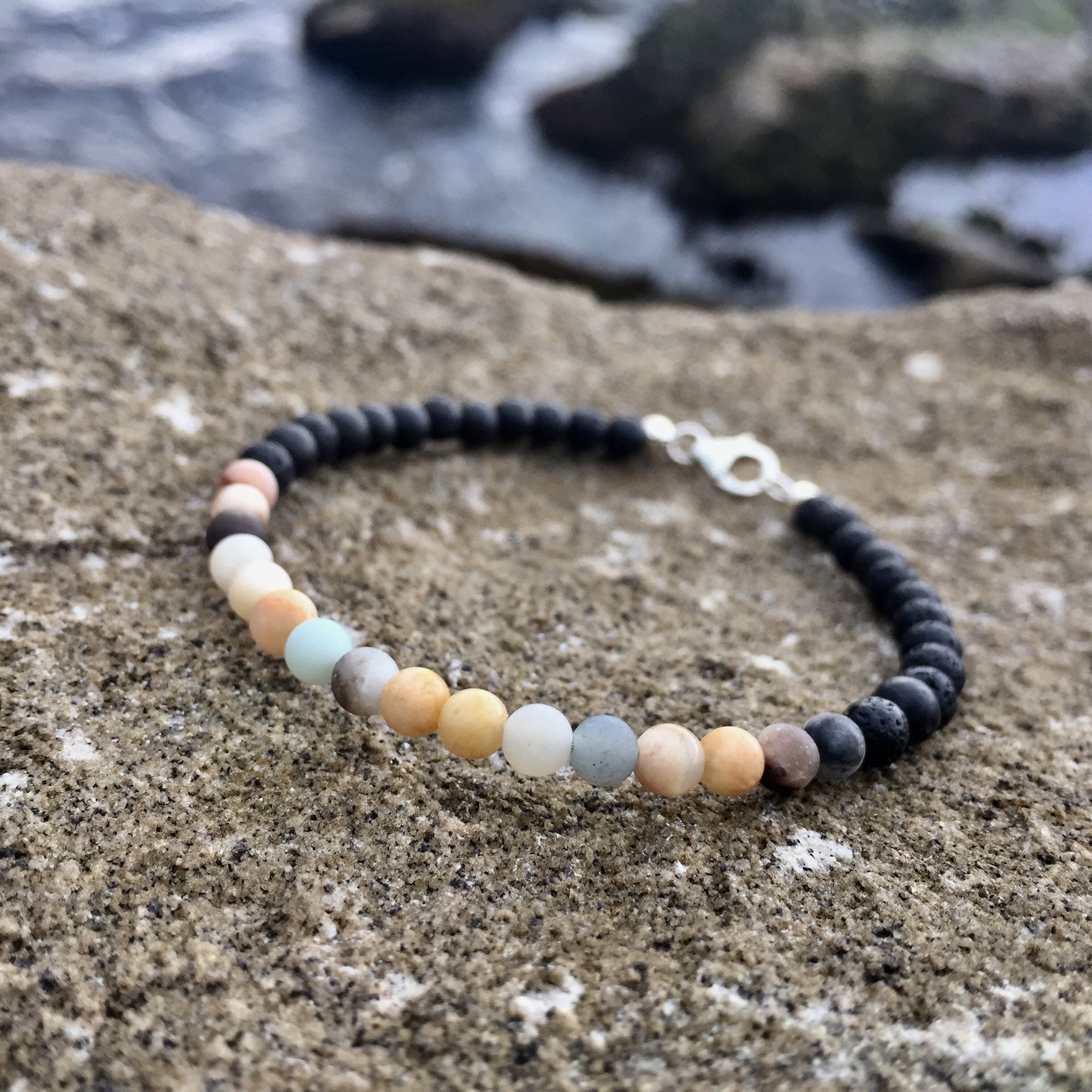 Empowerment for men amazonite & Sunstone diffuser bracelet