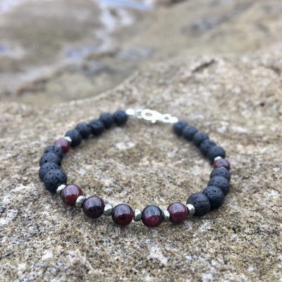 Garnet and pyrite essential oil bracelet
