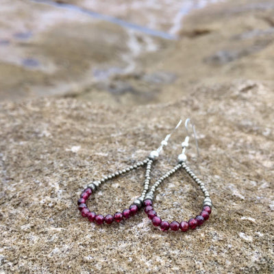 Garnet and pyrite healing crystal earrings