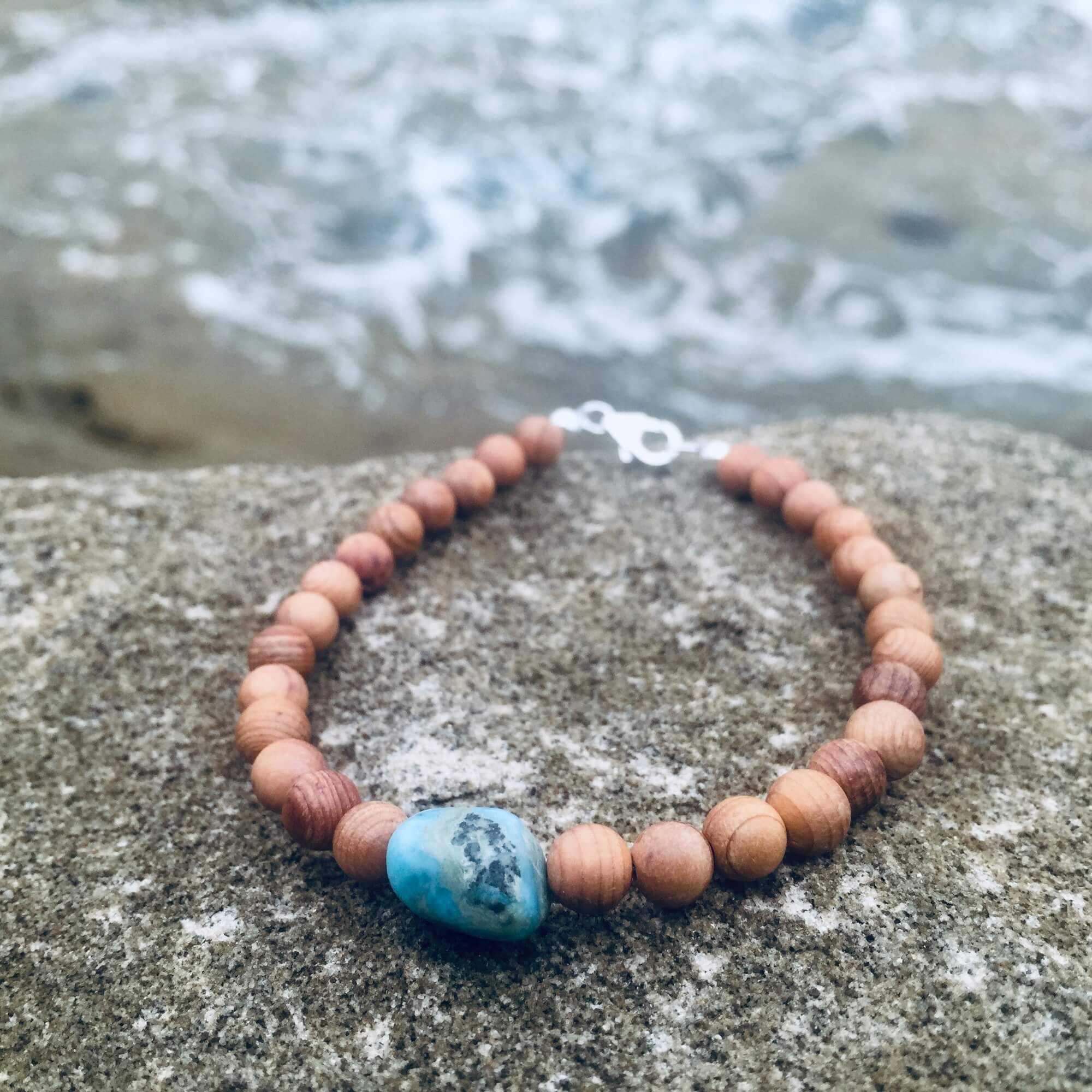 Healing Larimar & Natural wood Bracelet