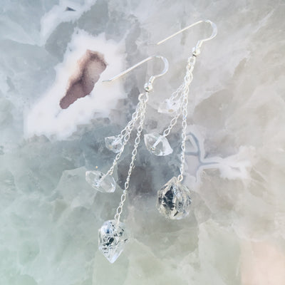 Seeker of Light Three Drop Herkimer Diamond & Sterling Silver Earrings