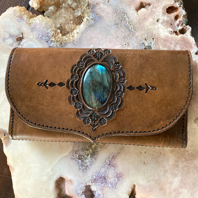 Kailani The Label - Aztec Flower Leather Wallet With Labradorite
