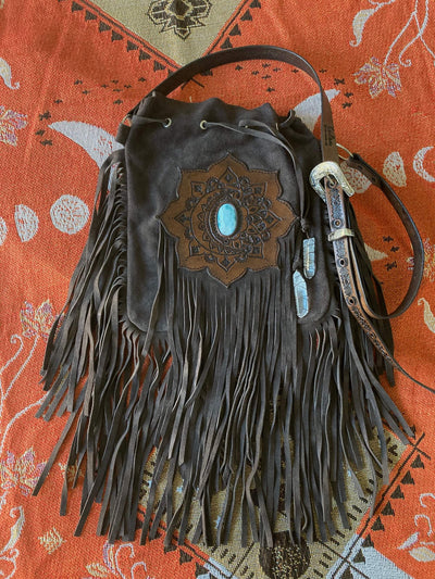 Kailani The Label - Summer Folk Tassel Bag In Brown With Larimar