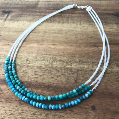 Little Mermaid Chrysocolla & Apatite Multi-Strand Necklace - Limited Edition