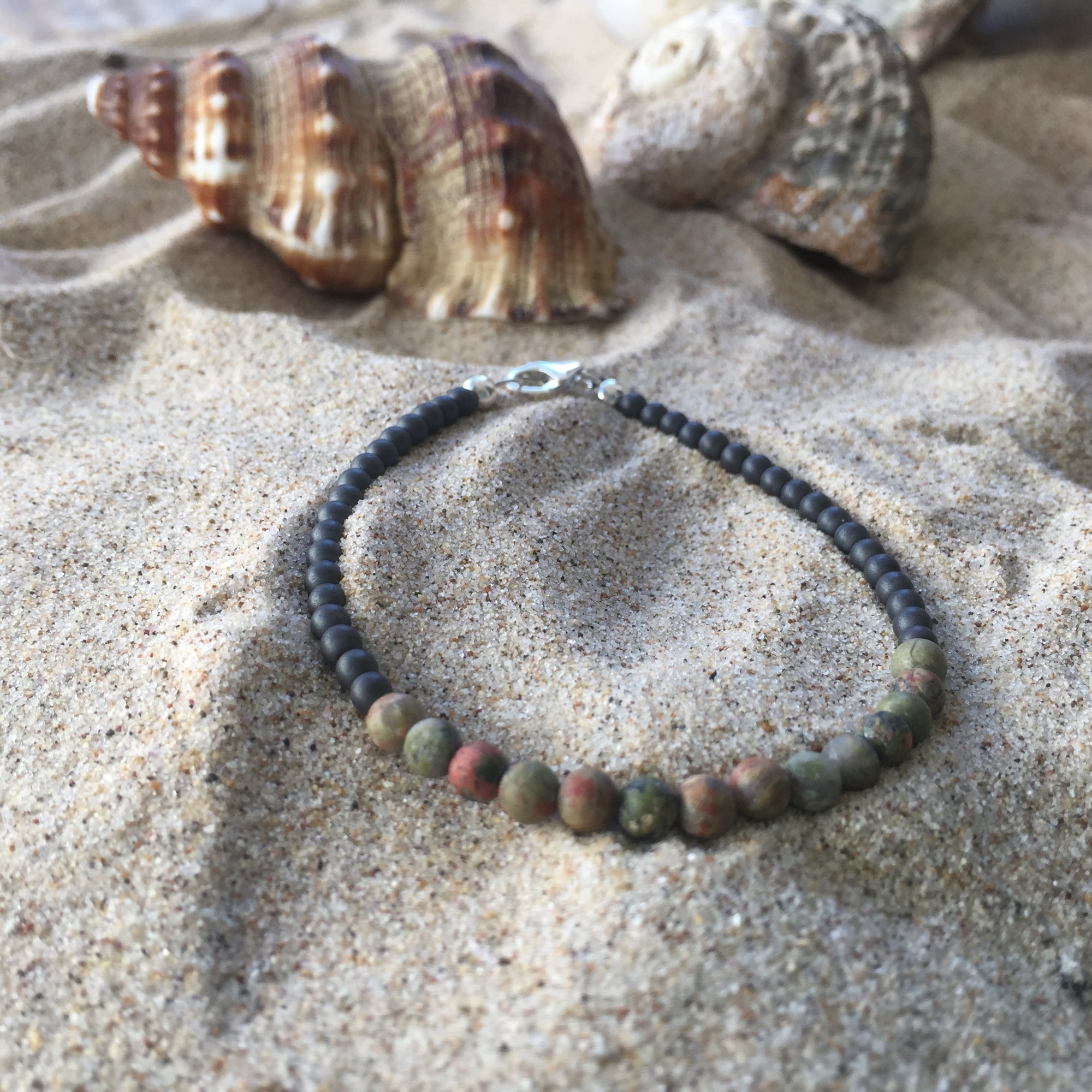 Wheres You're Head At - Unakite and Hematite Bracelet