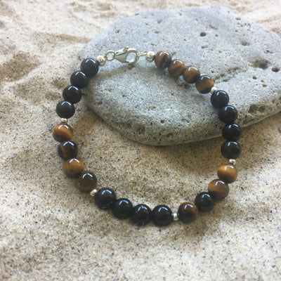 Tiger's Eye and Golden Obsidian Bracelet