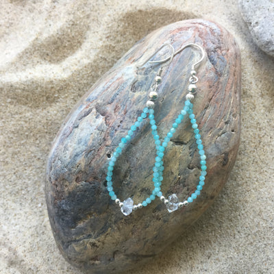 Amazonite and Herkimer Diamond Earrings