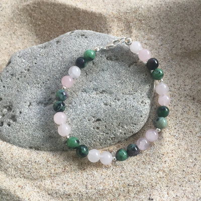 Rose Quartz and Ruby Zoisite Bracelet