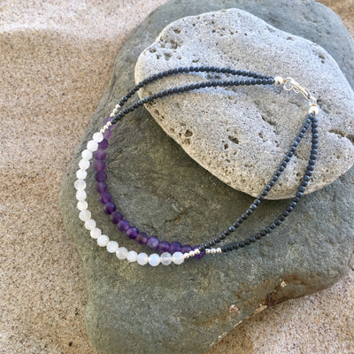 Amethyst and Moonstone Anklet