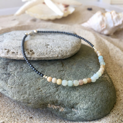 Amazonite and Sunstone Anklet