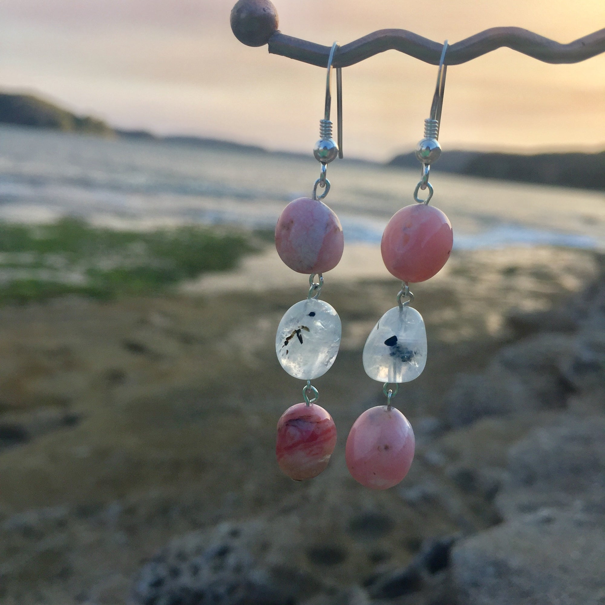 Pink Opal & Moonstone Earrings