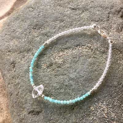 Amazonite and Herkimer Diamond Bracelet