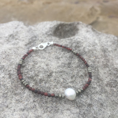 Red Tiger's Eye, Pyrite & Pearl Bracelet