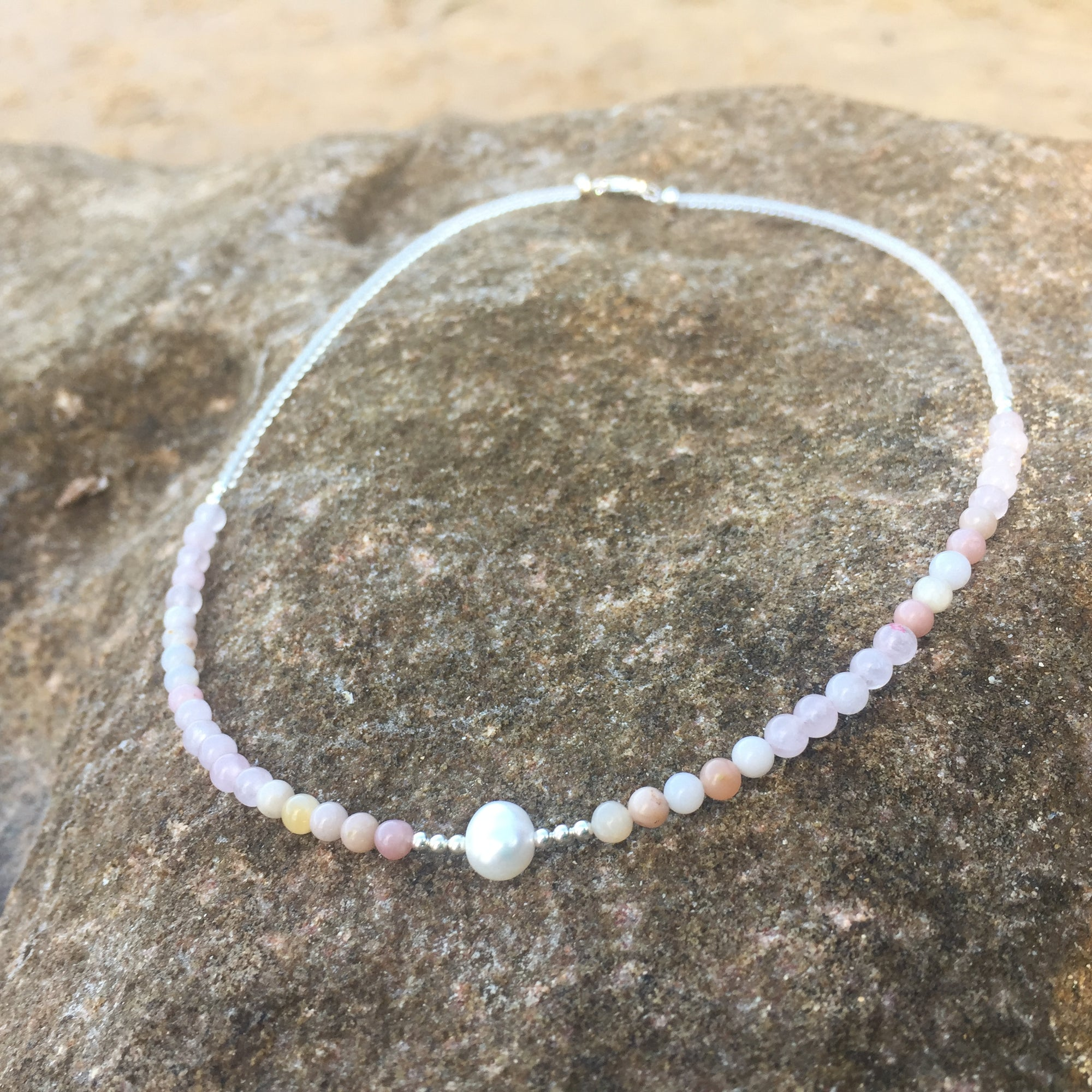 Pink Opal, Rose Quartz & Pearl Necklace