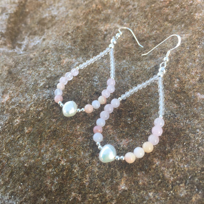 Pink Opal, Rose Quartz & Pearl Earrings