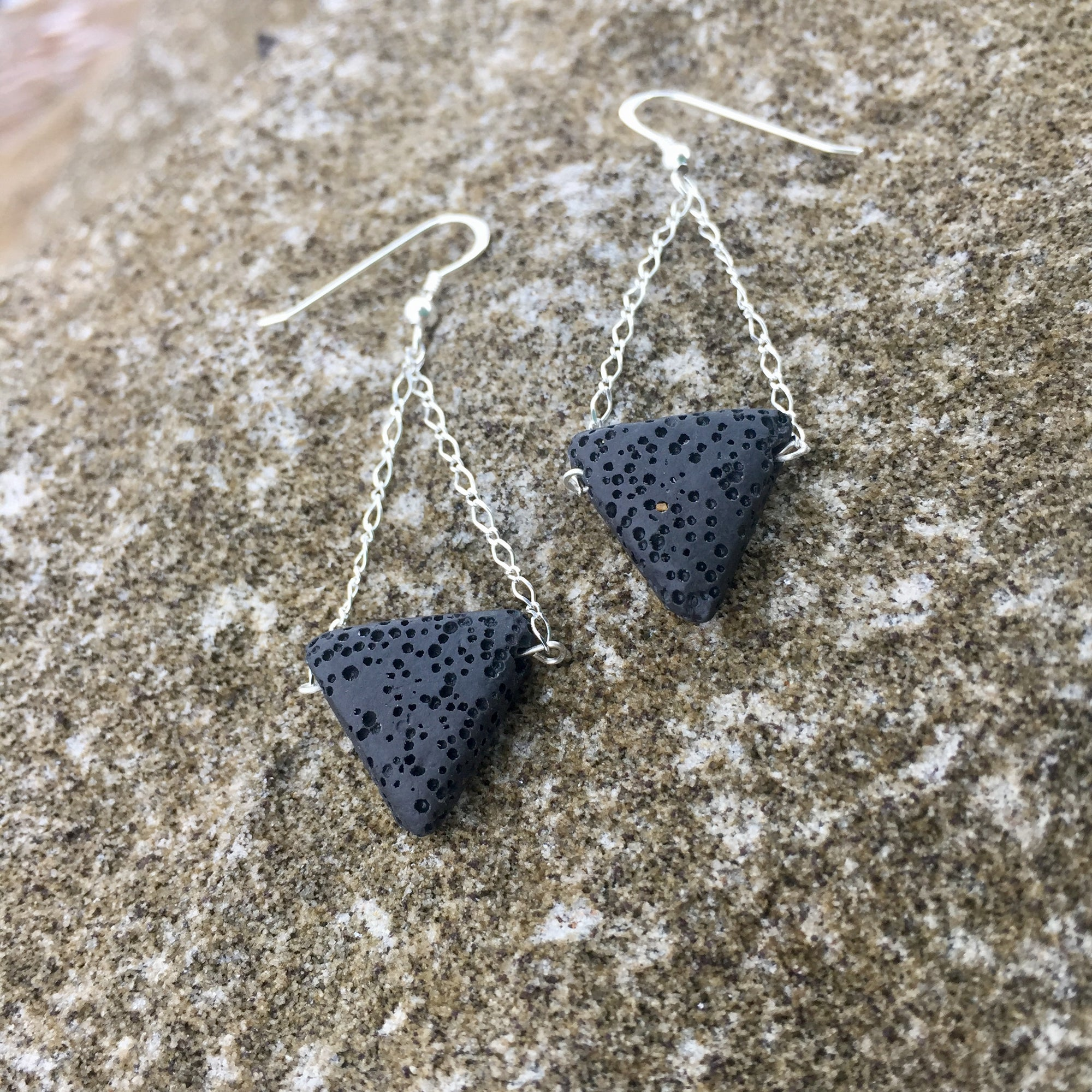 Lava Rock & Sterling Silver Diffuser Earrings