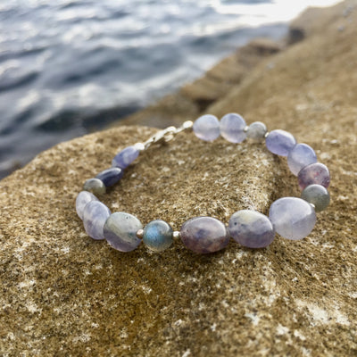Iolite & Labradorite crystal nugget bracelet for ladies