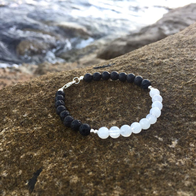 La Luna Love Moonstone Diffuser Bracelet with Lava Beads & Sterling Silver Handmade with Aloha by House of Aloha Central Coast NSW Australia