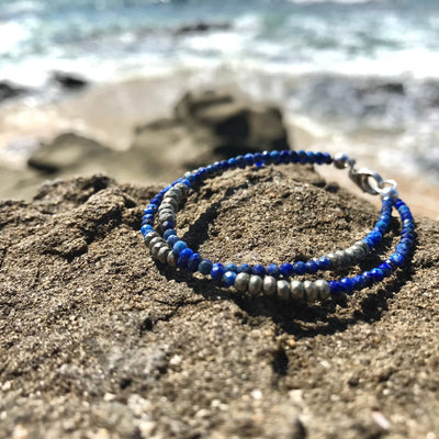 Lapis Lazuli & Pyrite Double strand bracelet for ladies