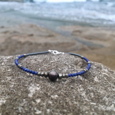 Lapis Lazuli, Pyrite & Black Pearl Anklet for women