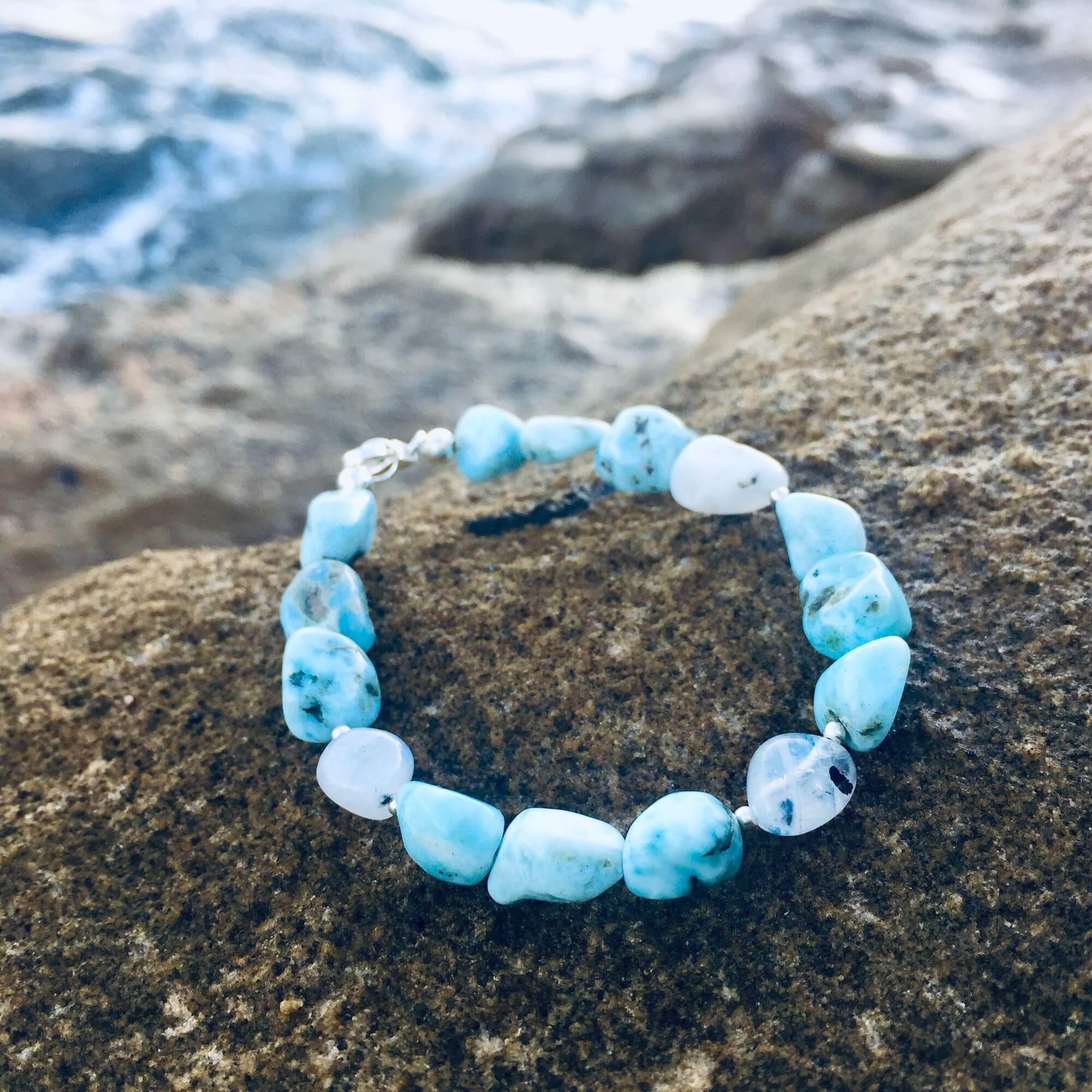 Larimar & Moonstone Bracelet Hand beaded by House of Aloha Central Coast NSW Australia