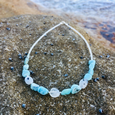 Larimar & Moonstone Necklace Handmade with Love by House of Aloha Central Coast NSW Australia