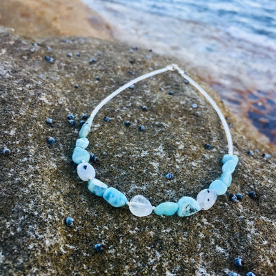 Larimar & Moonstone Necklace Healing Crystal Jewellery Handmade by House of Aloha Central Coast NSW Australia