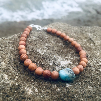 Larimar & Natural wood Bracelet