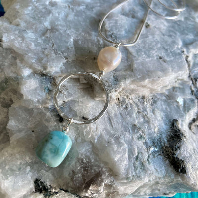 Larimar & Pearl Necklace for healing